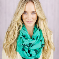Bow Infinity Scarf  TURQUOISE Printed Infinity Loop Bow Scarf with Grey Bows  Infinity Scarf Spring Fashion Accessories Print Circle Scarf