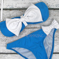 Captain Gilligan Blue &amp; White Sailor Bow Bikini