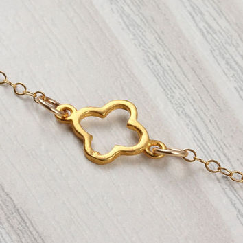 """Gold clover necklace, lucky charm necklace, asymmetrical necklace, tiny clover, 14k gold filled necklace, everyday jewelry, """"Argia"""""""