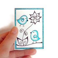 Original ACEO, Ink Drawing: Blue Dotty Birds, Miniature Art by JoArtyJo