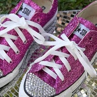 Custom Made HOT PINK GLITTER Converse with Swavroski Crystals