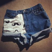 Mustache one of a kind studded high waist hipster shorts