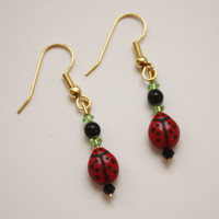 Red Ladybug Bead Earrings / French Wire / Handmade Beaded Earrings / Fashion Jewelry