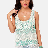 Best of the Fest Mint and Cream Crochet Top