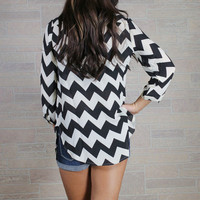Don&#x27;t Kill my Vibe Chevron Blouse