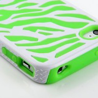 Pandamimi Stylwire Green White Zebra Combo Hard Soft High Impact Armor Skin Gel Case for iPhone 4/4S/4G: Cell Phones & Accessories