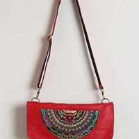 Embroidered Red Leather Bag