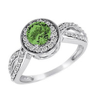 1 CT. T.W. Enhanced Fancy Green and White Diamond Framed Twisted Shank Ring in 14K White Gold - View All Rings - Zales