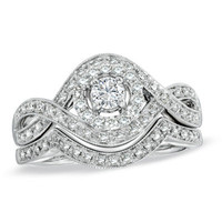 1/2 CT. T.W. Diamond Swirl Bridal Set in 14K White Gold - View All Rings - Zales
