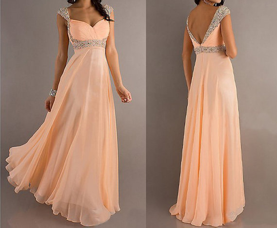 Satisfashion: Peach Prom Dress (super sparkly) $130