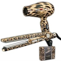 Nano Titantium Babyliss Pro Travel Dryer &amp; Straigtener Leopard Gift Kit in Designer Reusable Box: Beauty