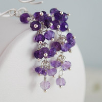 Amethyst Earrings Shades of Purple Sterling Silver by livjewellery