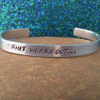 Shit works out Metal Stamp Bracelet by darkerblue on Etsy