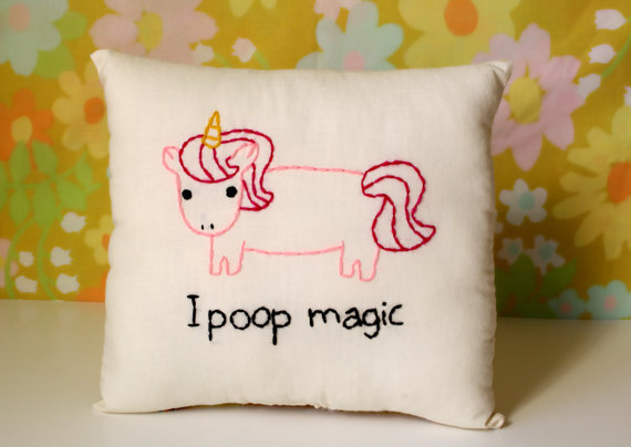 Unicorn Pillow Magical Pooping Unicorn by ohhoneychild on Etsy