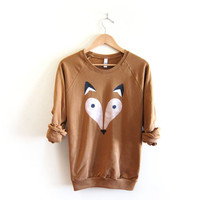 Geo Fox - Hand STENCILED Deep Crew Neck Fleece Raglan Sweatshirt in Rust - S M L XL 2XL 3XL