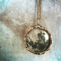 Full Moon Necklace  Medium Glass Lens Pendant by RenataandJonathan