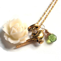 AAA Grade Peridot Cream Rose Blossom and Gold Bird by SovereignSea