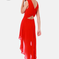 LULUS Exclusive Cross My Hot Red High-Low Dress