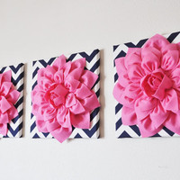 "Wall Decor -SET OF THREE Pink Dahlias on Navy and White Chevron 12 x12"" Canvas Wall Art-"