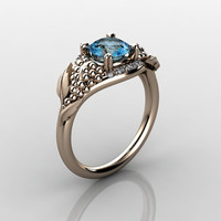Nature Inspired 18K Rose Gold 10 CT Blue Topaz by artmasters