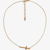 Linked Cross Charm Necklace