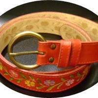 SALE red leather hand painted floral woman's belt