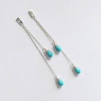 Long Dangle Earrings - Sterling Silver Chain Earrings - Turquoise Drops Earrings - Long Post Earrings