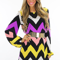 MULTI COLOR CHEVRON PRINT MAXI - Multi/White