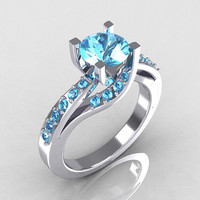 Modern Bridal 14K White Gold 1.0 Carat Aquamarine Solitaire Ring R145-14WGAQ