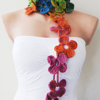 Rainbow Multicolor Flower Hand Crochet Lariat Scarf by fairstore