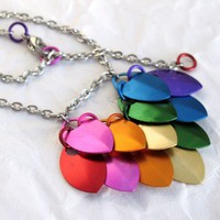 Dragon Scale Heart Necklace Rainbow Heart Aluminum Scales Steel Chain | RPriestEllgyCo - Jewelry on ArtFire
