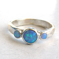 Engagement Ring -Gemstone opal  Mineral ring   - Recycled fine silver sterling ring-Made to order
