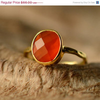 CLEARANCE - Carnelian Ring- Gemstone Ring - Gold Ring - Bezel Set Ring -