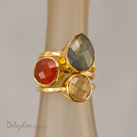 Stacking Rings - Stackable Rings - Gemstone Ring-  Bezel Rings - Gold Rings -  Vermeil Ring - Gift for Mom