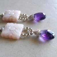 Amethyst, Sterling Silver Earrings w/ Carved Mother-of-Pearl
