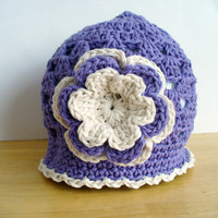 SALE - Crocheted Purple Cotton Summer Hat with Flower