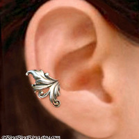 925 Royal Leaf  Sterling Silver ear cuff earring by RingRingRing