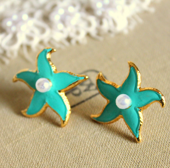 Tiffany blue starfish petit elegant 14k gold coated by iloniti