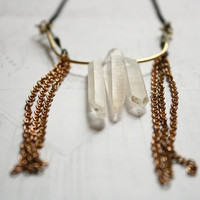 Amazon Three Point Quartz Crystal Necklace with Brass Details
