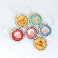 Golden Girls Wine Charms - Set of 6 Bottlecap Charms - Whimsical &amp; Unique Gift Ideas for the Coolest Gift Givers