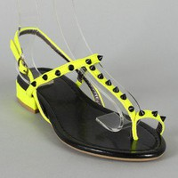 Cabana-7B Neon Studded Spike Toe Ring Flat Sandal