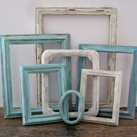 Beach Picture Frame Set of 7 Open/Empty Rustic Beach Wall Art