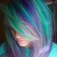My Hair (clients, too) / Diluted pravana green and violet. One of my all time favorites.
