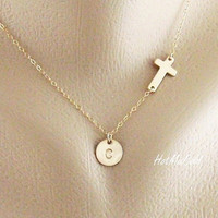 Gold Sideways cross and Monogram charm Necklace by hotmixcold