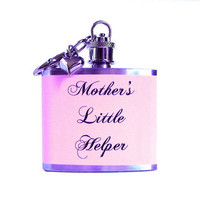 Mother&#x27;s Little Helper, Funny Flask Key Chain, Mother&#x27;s Day Gift for Mom, Sarcastic Humor, Gift under 25
