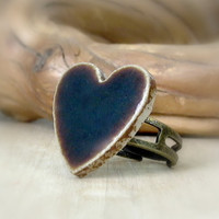 Rustic Heart Cocktail Ring, Porcelain Ceramic Chocolate Brown Vintage Tile, Mothers Day, Gift for Mom