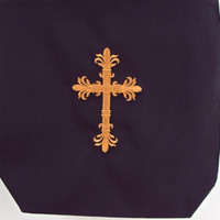Christian Easter or Bible tote bag with beautiful cross on one side and This is the day the Lord has made on other side.