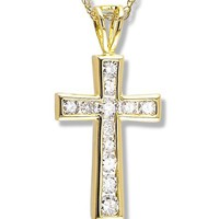 1/2 Carat Diamond Cross Pendant in 14k Yellow Gold