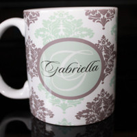 Coffee Mug - Mint and Brown Damask Monogram Coffee Mug - Custom Coffee Mug - Personalized Mug