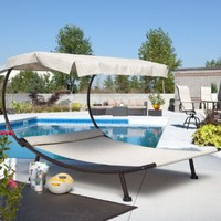 Del Rey Double Chaise Lounge with Canopy Size - 79W x 78W x 57.25H in.: Patio, Lawn &amp; Garden